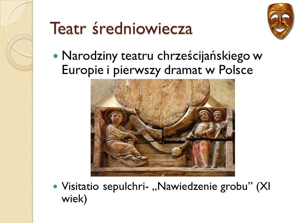 Teatr średniowiecza Trzy czynniki warunkujące rozwój teatru: Budowa kościołów Rozwój miast Powstawanie uniwersytetów