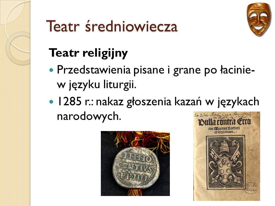 Teatr średniowiecza Teatr religijny Przedstawienia pisane i grane po łacinie- w języku liturgii.