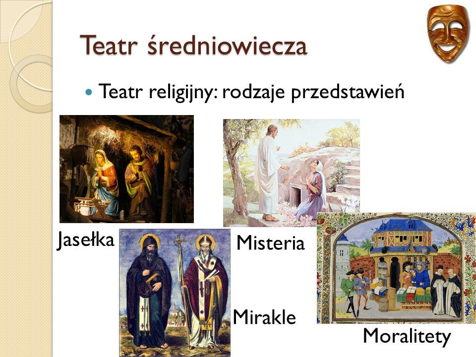 Teatr średniowiecza Teatr religijny: rodzaje przedstawień Jasełka Mirakle Misteria Moralitety