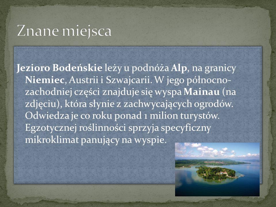 Jezioro Bodeńskie leży u podnóża Alp, na granicy Niemiec, Austrii i Szwajcarii. W jego północno- zachodniej części znajduje się wyspa Mainau (na zdjęc