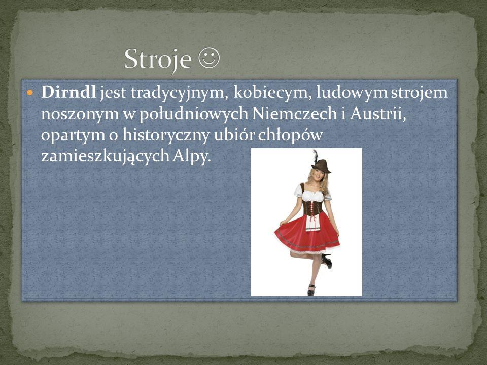 Dirndl jest tradycyjnym, kobiecym, ludowym strojem noszonym w południowych Niemczech i Austrii, opartym o historyczny ubiór chłopów zamieszkujących Alpy.