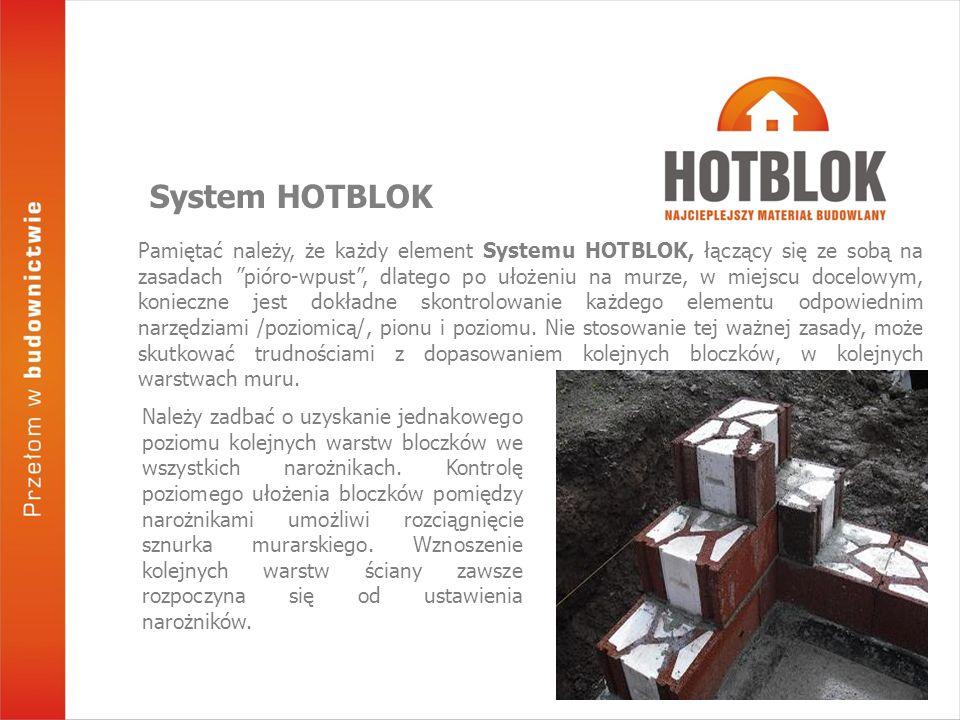 Pamiętać należy, że każdy element Systemu HOTBLOK, łączący się ze sobą na zasadach pióro-wpust , dlatego po ułożeniu na murze, w miejscu docelowym, konieczne jest dokładne skontrolowanie każdego elementu odpowiednim narzędziami /poziomicą/, pionu i poziomu.