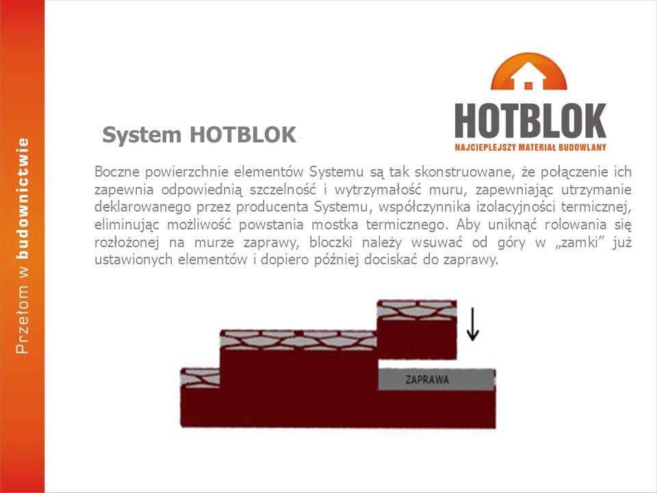 Boczne powierzchnie elementów Systemu są tak skonstruowane, że połączenie ich zapewnia odpowiednią szczelność i wytrzymałość muru, zapewniając utrzymanie deklarowanego przez producenta Systemu, współczynnika izolacyjności termicznej, eliminując możliwość powstania mostka termicznego.