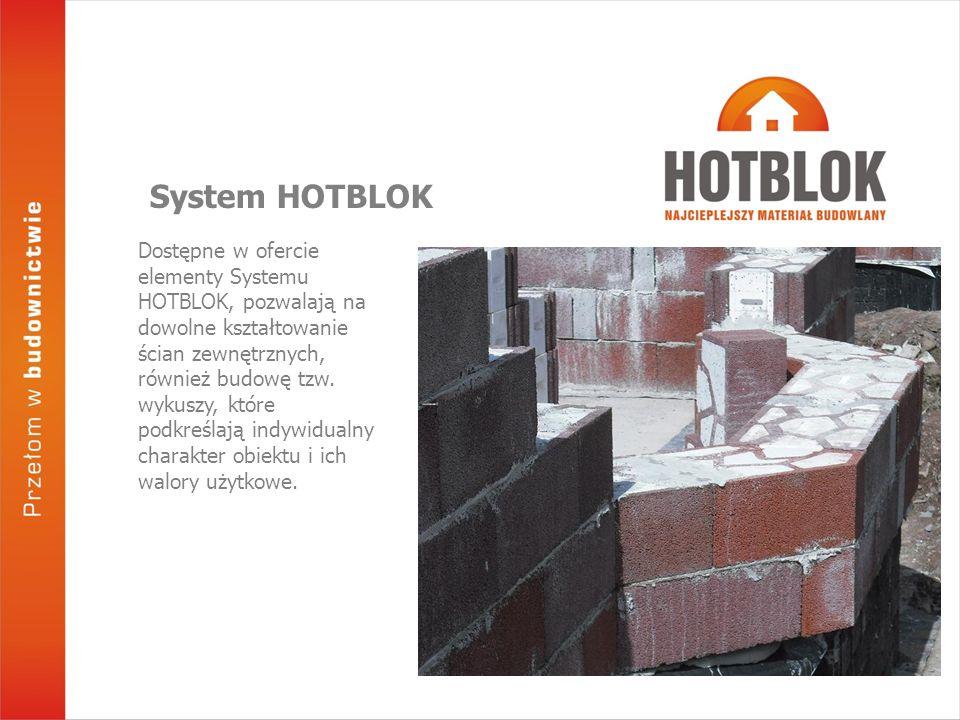 Dostępne w ofercie elementy Systemu HOTBLOK, pozwalają na dowolne kształtowanie ścian zewnętrznych, również budowę tzw. wykuszy, które podkreślają ind
