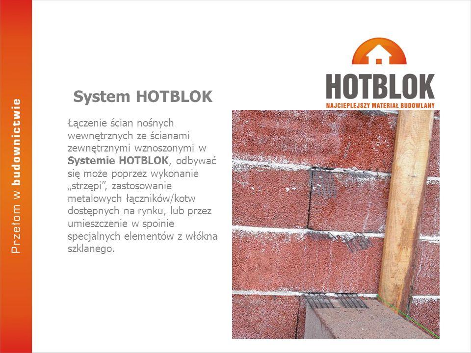 """Łączenie ścian nośnych wewnętrznych ze ścianami zewnętrznymi wznoszonymi w Systemie HOTBLOK, odbywać się może poprzez wykonanie """"strzępi"""", zastosowani"""