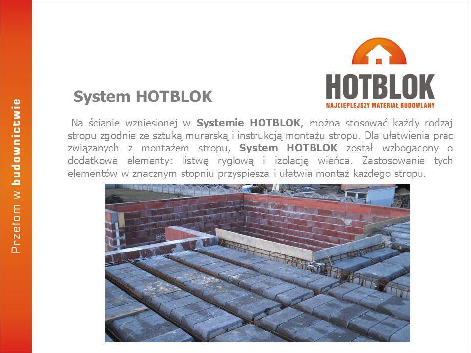 Na ścianie wzniesionej w Systemie HOTBLOK, można stosować każdy rodzaj stropu zgodnie ze sztuką murarską i instrukcją montażu stropu. Dla ułatwienia p