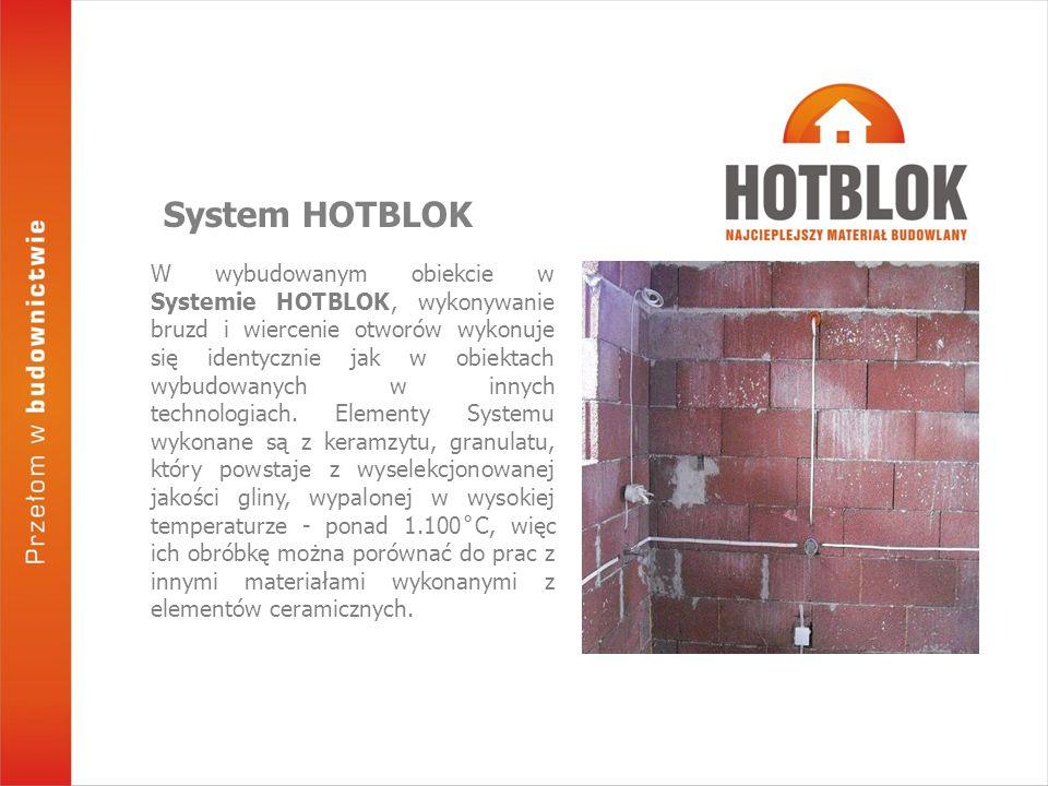 W wybudowanym obiekcie w Systemie HOTBLOK, wykonywanie bruzd i wiercenie otworów wykonuje się identycznie jak w obiektach wybudowanych w innych techno