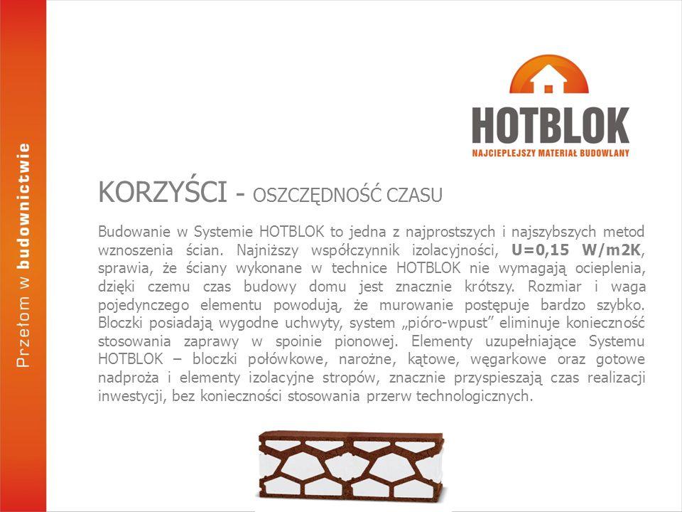 Budowanie w Systemie HOTBLOK to jedna z najprostszych i najszybszych metod wznoszenia ścian. Najniższy współczynnik izolacyjności, U=0,15 W/m2K, spraw