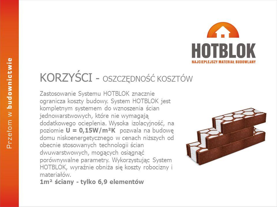 Zastosowanie Systemu HOTBLOK znacznie ogranicza koszty budowy. System HOTBLOK jest kompletnym systemem do wznoszenia ścian jednowarstwowych, które nie