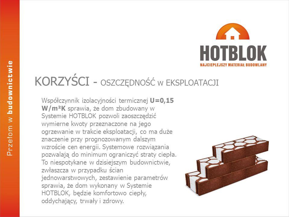 Współczynnik izolacyjności termicznej U=0,15 W/m²K sprawia, że dom zbudowany w Systemie HOTBLOK pozwoli zaoszczędzić wymierne kwoty przeznaczone na jego ogrzewanie w trakcie eksploatacji, co ma duże znaczenie przy prognozowanym dalszym wzroście cen energii.