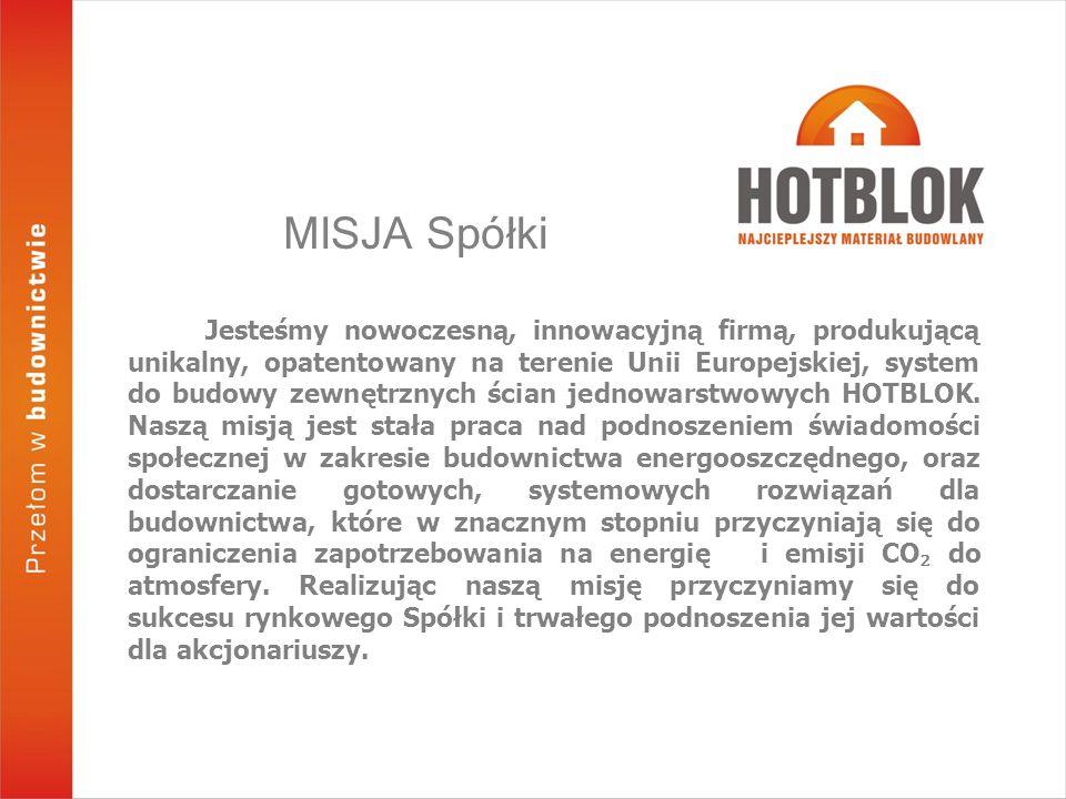 MISJA Spółki Jesteśmy nowoczesną, innowacyjną firmą, produkującą unikalny, opatentowany na terenie Unii Europejskiej, system do budowy zewnętrznych ścian jednowarstwowych HOTBLOK.