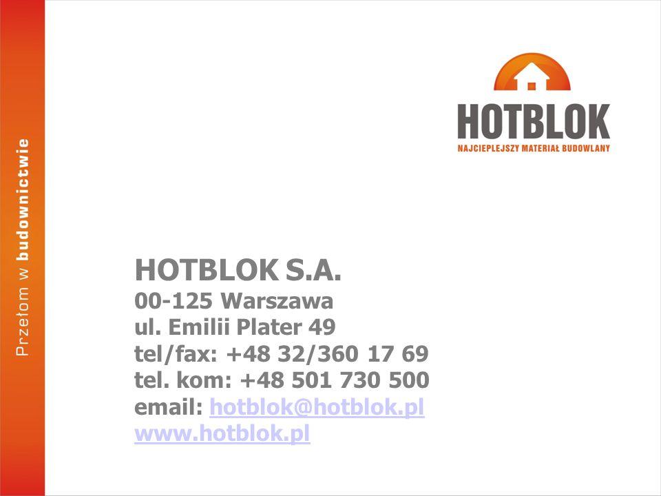 HOTBLOK S.A. 00-125 Warszawa ul. Emilii Plater 49 tel/fax: +48 32/360 17 69 tel. kom: +48 501 730 500 email: hotblok@hotblok.plhotblok@hotblok.pl www.