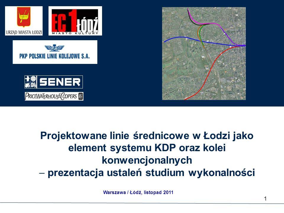 Projektowane linie średnicowe w Łodzi jako element systemu KDP oraz kolei konwencjonalnych  prezentacja ustaleń studium wykonalności 1 Warszawa / Łódź, listopad 2011
