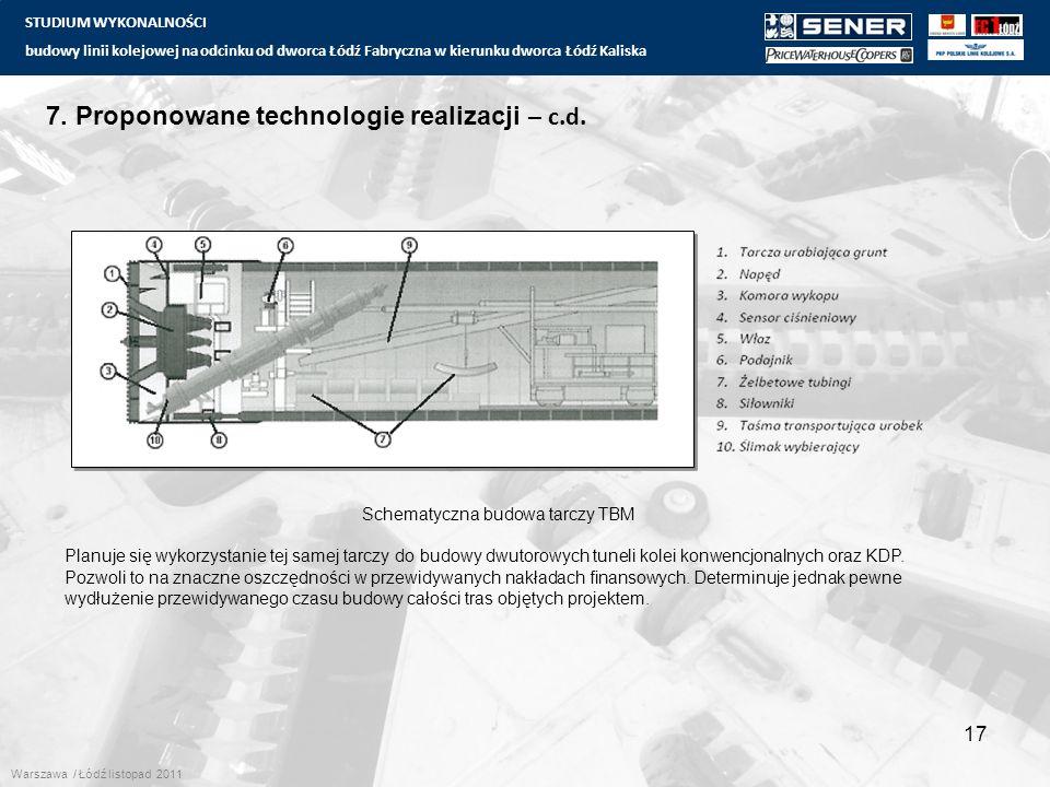 STUDIUM WYKONALNOŚCI budowy linii kolejowej na odcinku od dworca Łódź Fabryczna w kierunku dworca Łódź Kaliska 17 7. Proponowane technologie realizacj