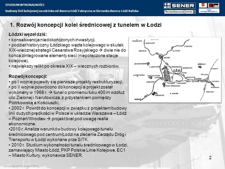 STUDIUM WYKONALNOŚCI budowy linii kolejowej na odcinku od dworca Łódź Fabryczna w kierunku dworca Łódź Kaliska 1. Rozwój koncepcji kolei średnicowej z