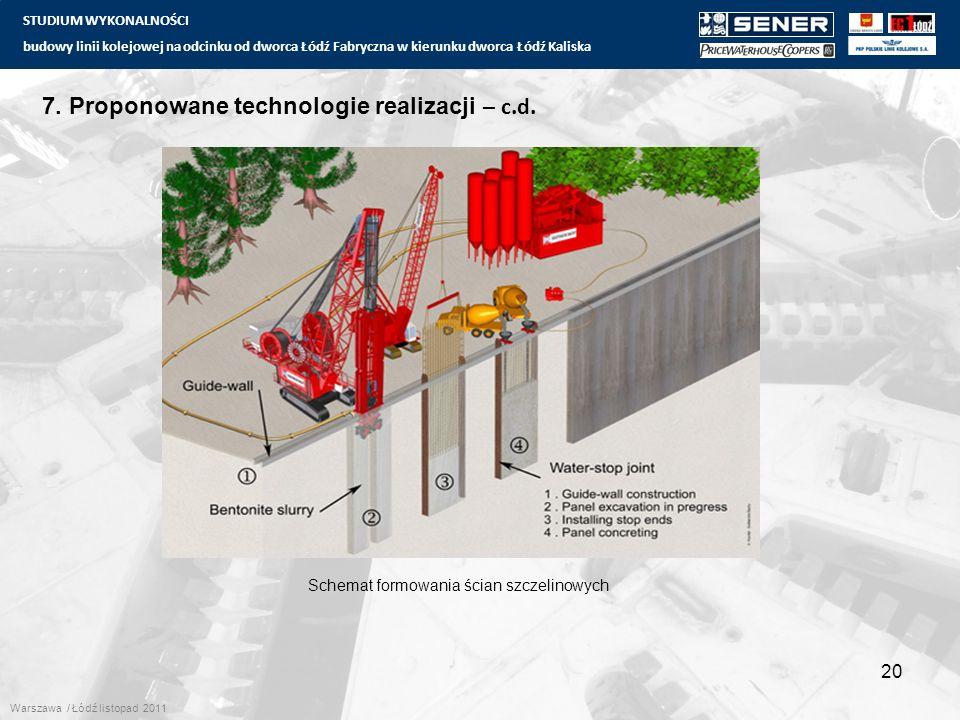 STUDIUM WYKONALNOŚCI budowy linii kolejowej na odcinku od dworca Łódź Fabryczna w kierunku dworca Łódź Kaliska 20 7. Proponowane technologie realizacj