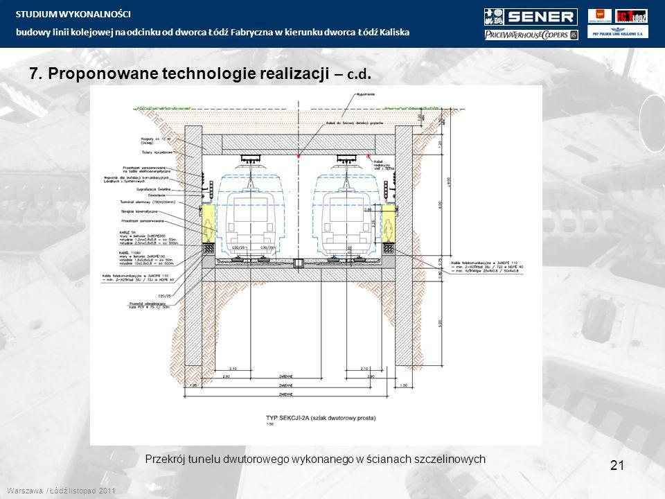 STUDIUM WYKONALNOŚCI budowy linii kolejowej na odcinku od dworca Łódź Fabryczna w kierunku dworca Łódź Kaliska 21 7. Proponowane technologie realizacj