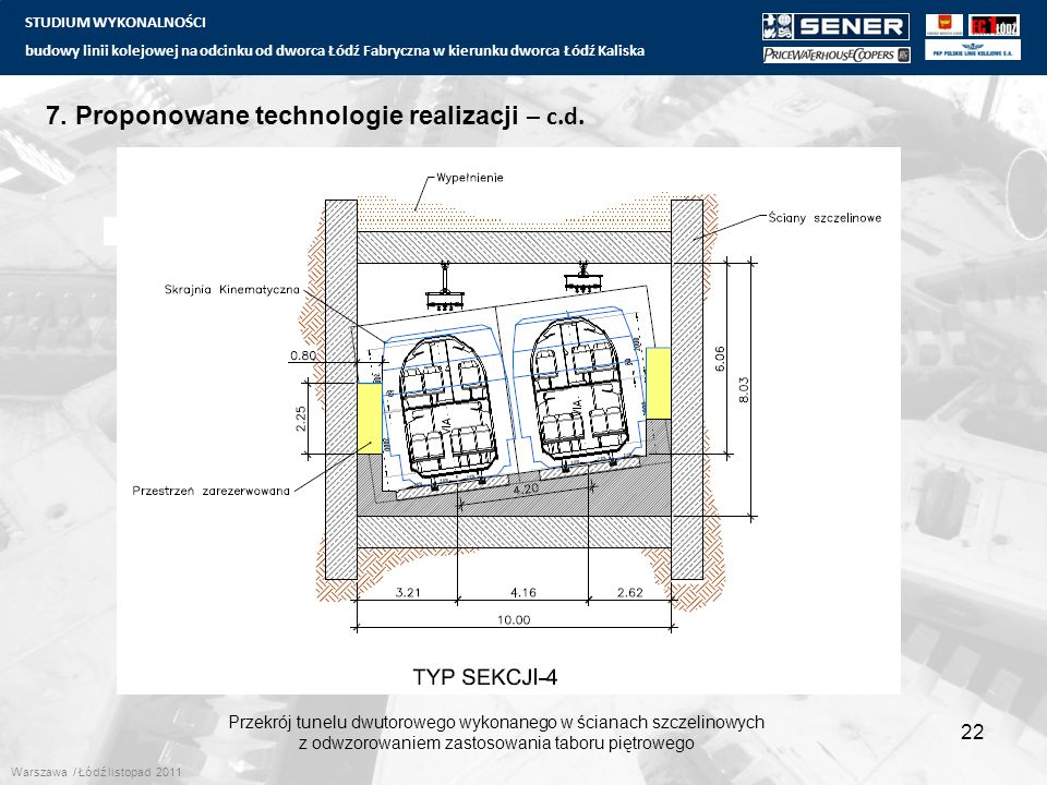 STUDIUM WYKONALNOŚCI budowy linii kolejowej na odcinku od dworca Łódź Fabryczna w kierunku dworca Łódź Kaliska 22 7. Proponowane technologie realizacj