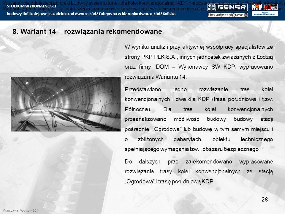 STUDIUM WYKONALNOŚCI budowy linii kolejowej na odcinku od dworca Łódź Fabryczna w kierunku dworca Łódź Kaliska 28 8. Wariant 14  rozwiązania rekomend