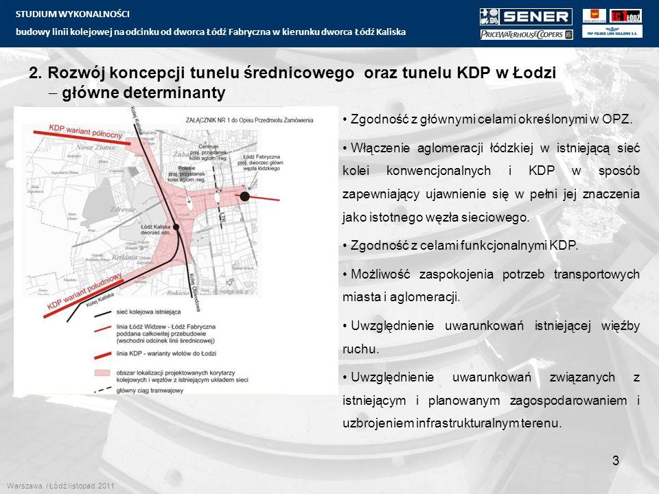 STUDIUM WYKONALNOŚCI budowy linii kolejowej na odcinku od dworca Łódź Fabryczna w kierunku dworca Łódź Kaliska 14 6.