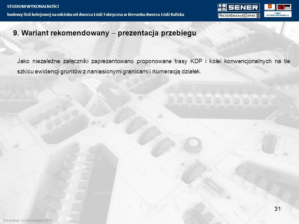 STUDIUM WYKONALNOŚCI budowy linii kolejowej na odcinku od dworca Łódź Fabryczna w kierunku dworca Łódź Kaliska 31 9.