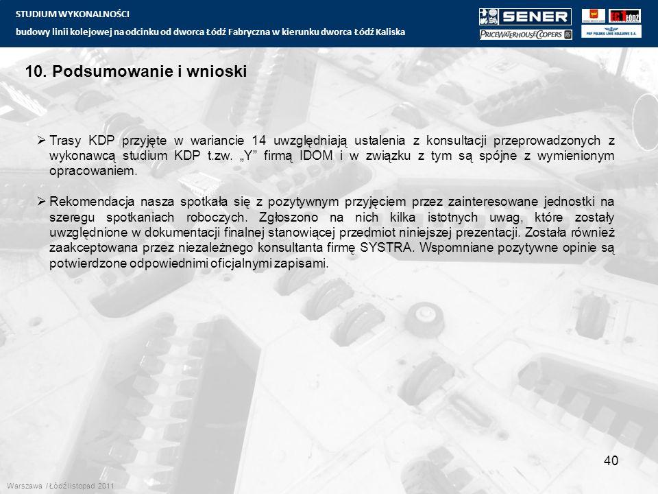 STUDIUM WYKONALNOŚCI budowy linii kolejowej na odcinku od dworca Łódź Fabryczna w kierunku dworca Łódź Kaliska 40 10. Podsumowanie i wnioski  Trasy K