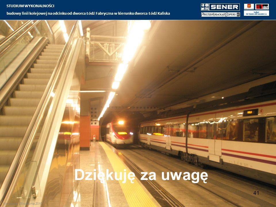 Dziękuję za uwagę STUDIUM WYKONALNOŚCI budowy linii kolejowej na odcinku od dworca Łódź Fabryczna w kierunku dworca Łódź Kaliska 41 Warszawa 26 sierpnia 2010
