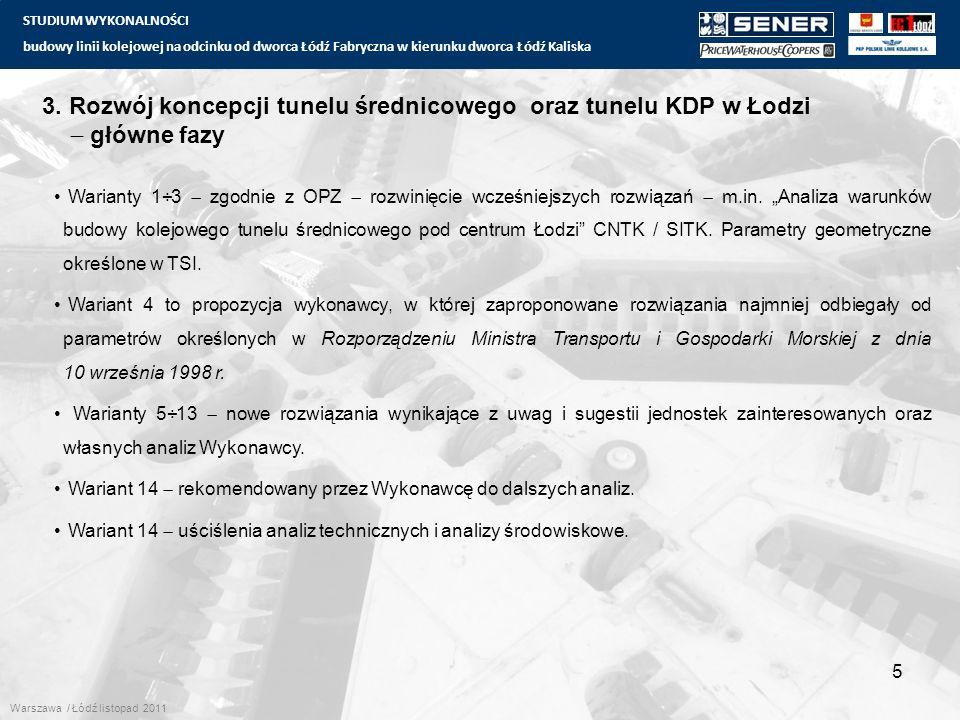 STUDIUM WYKONALNOŚCI budowy linii kolejowej na odcinku od dworca Łódź Fabryczna w kierunku dworca Łódź Kaliska 5 3. Rozwój koncepcji tunelu średnicowe