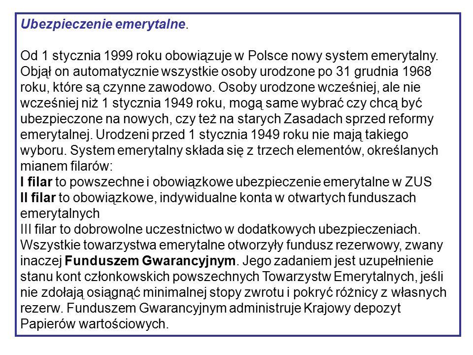 Ubezpieczenie emerytalne. Od 1 stycznia 1999 roku obowiązuje w Polsce nowy system emerytalny.