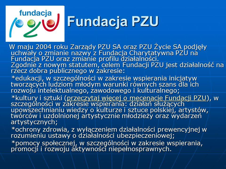 Fundacja PZU W maju 2004 roku Zarządy PZU SA oraz PZU Życie SA podjęły uchwały o zmianie nazwy z Fundacja Charytatywna PZU na Fundacja PZU oraz zmiani