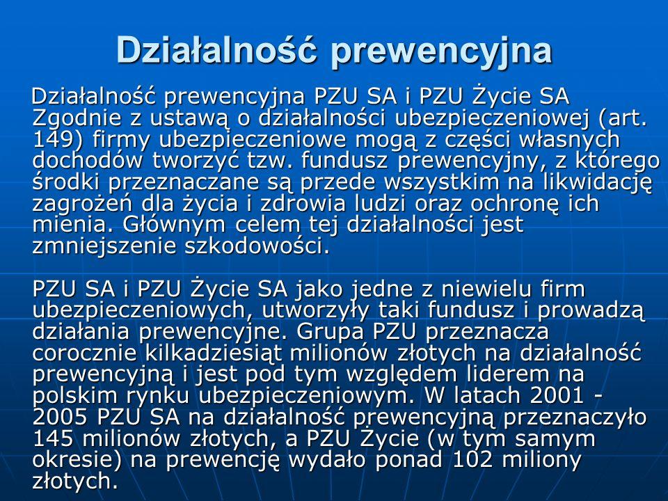 Działalność prewencyjna Działalność prewencyjna PZU SA i PZU Życie SA Zgodnie z ustawą o działalności ubezpieczeniowej (art. 149) firmy ubezpieczeniow