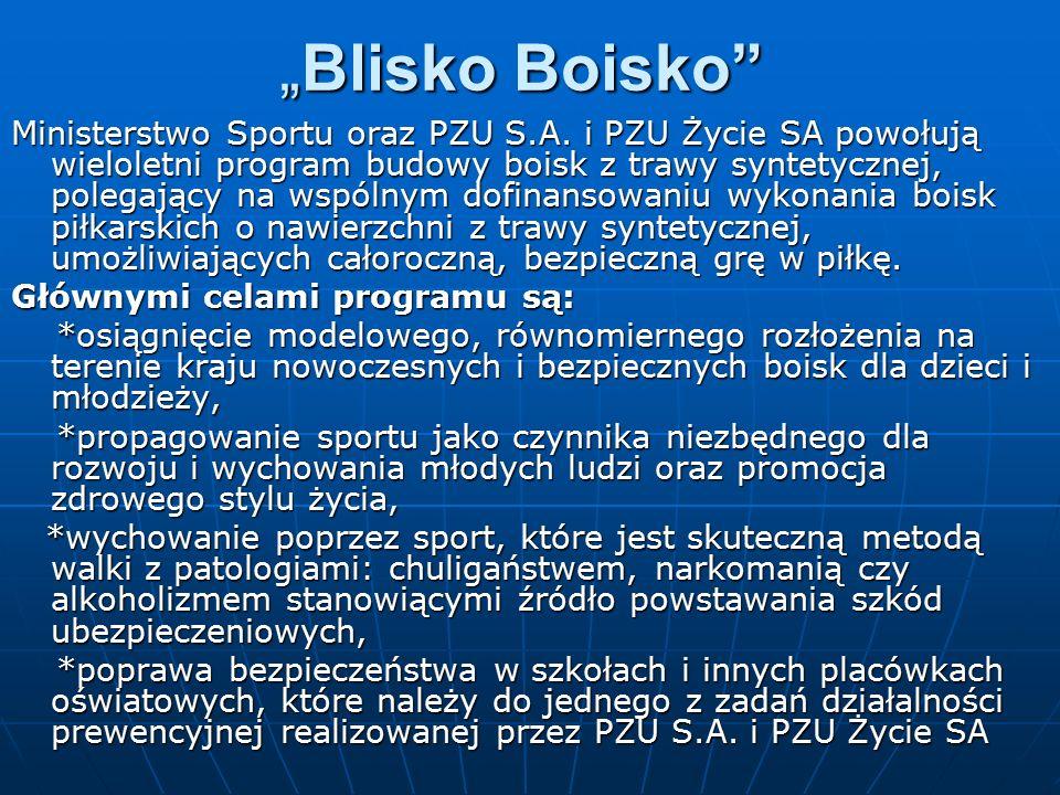 """""""Blisko Boisko"""" Ministerstwo Sportu oraz PZU S.A. i PZU Życie SA powołują wieloletni program budowy boisk z trawy syntetycznej, polegający na wspólnym"""