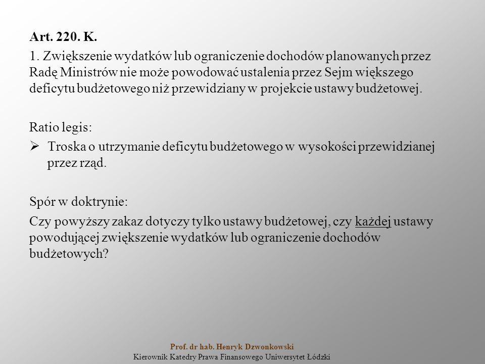 Art. 220. K. 1. Zwiększenie wydatków lub ograniczenie dochodów planowanych przez Radę Ministrów nie może powodować ustalenia przez Sejm większego defi