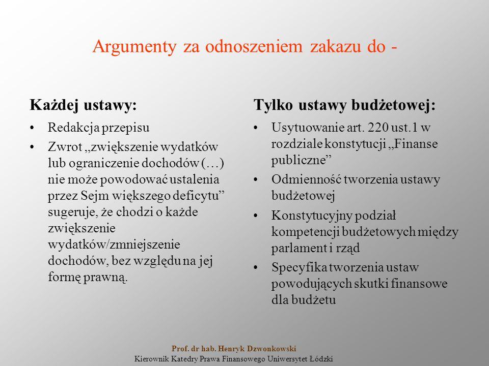 """Argumenty za odnoszeniem zakazu do - Każdej ustawy: Redakcja przepisu Zwrot """"zwiększenie wydatków lub ograniczenie dochodów (…) nie może powodować ustalenia przez Sejm większego deficytu sugeruje, że chodzi o każde zwiększenie wydatków/zmniejszenie dochodów, bez względu na jej formę prawną."""