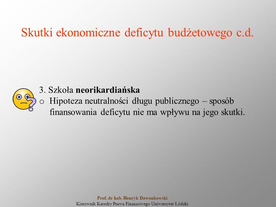 Skutki ekonomiczne deficytu budżetowego c.d. 3. Szkoła neorikardiańska o Hipoteza neutralności długu publicznego – sposób finansowania deficytu nie ma