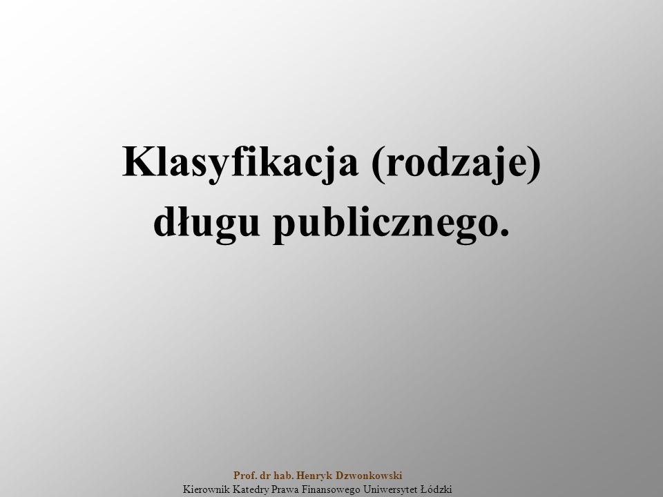 Klasyfikacja (rodzaje) długu publicznego. Prof. dr hab. Henryk Dzwonkowski Kierownik Katedry Prawa Finansowego Uniwersytet Łódzki