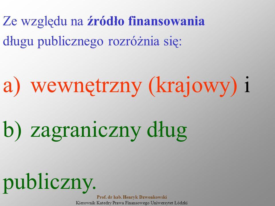 Ze względu na źródło finansowania długu publicznego rozróżnia się: a)wewnętrzny (krajowy) i b)zagraniczny dług publiczny. Prof. dr hab. Henryk Dzwonko