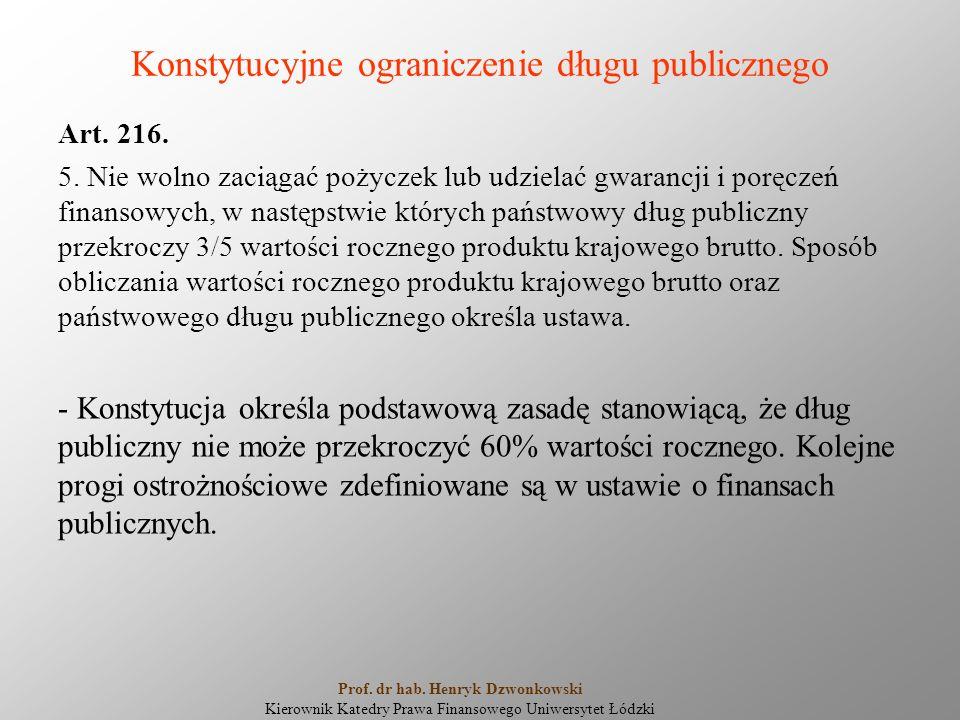 Konstytucyjne ograniczenie długu publicznego Art. 216. 5. Nie wolno zaciągać pożyczek lub udzielać gwarancji i poręczeń finansowych, w następstwie któ