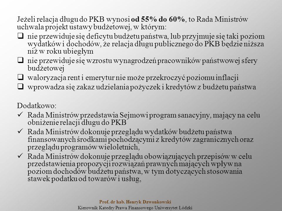 Jeżeli relacja długu do PKB wynosi od 55% do 60%, to Rada Ministrów uchwala projekt ustawy budżetowej, w którym:  nie przewiduje się deficytu budżetu