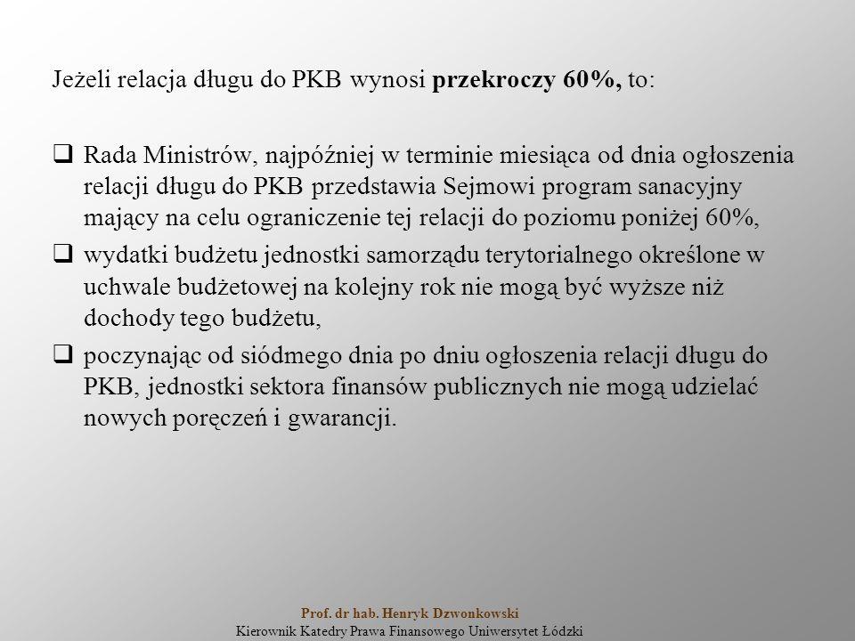 Jeżeli relacja długu do PKB wynosi przekroczy 60%, to:  Rada Ministrów, najpóźniej w terminie miesiąca od dnia ogłoszenia relacji długu do PKB przedstawia Sejmowi program sanacyjny mający na celu ograniczenie tej relacji do poziomu poniżej 60%,  wydatki budżetu jednostki samorządu terytorialnego określone w uchwale budżetowej na kolejny rok nie mogą być wyższe niż dochody tego budżetu,  poczynając od siódmego dnia po dniu ogłoszenia relacji długu do PKB, jednostki sektora finansów publicznych nie mogą udzielać nowych poręczeń i gwarancji.
