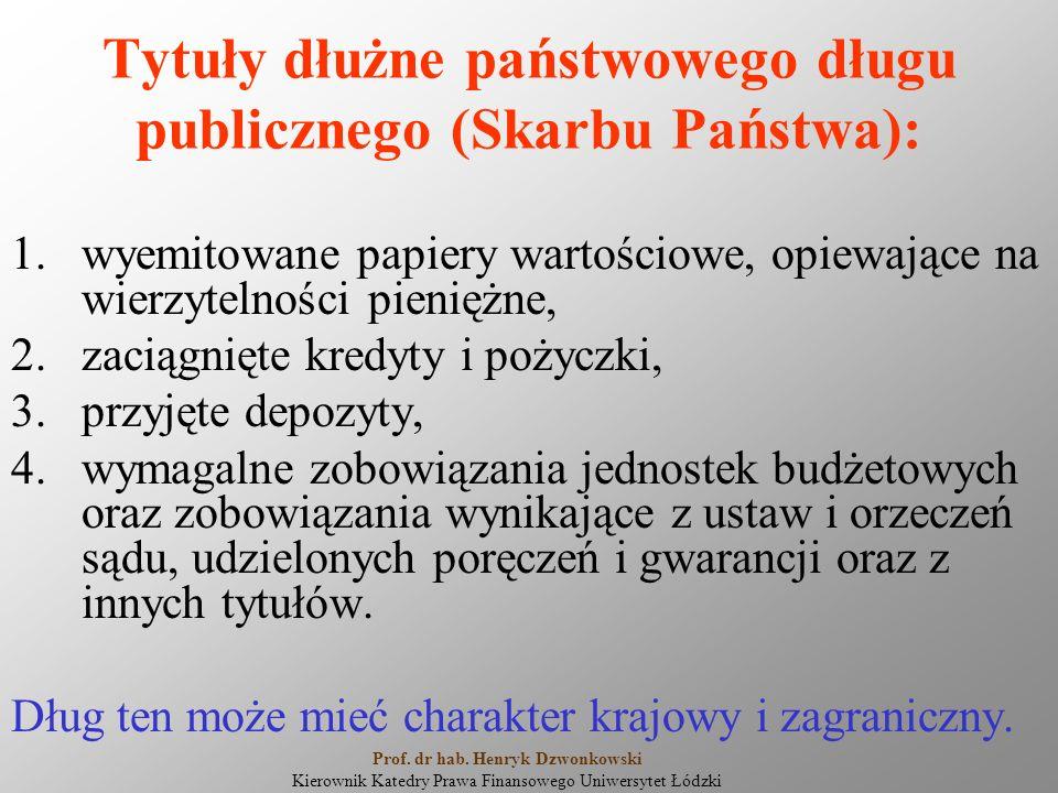 Tytuły dłużne państwowego długu publicznego (Skarbu Państwa): 1.wyemitowane papiery wartościowe, opiewające na wierzytelności pieniężne, 2.zaciągnięte