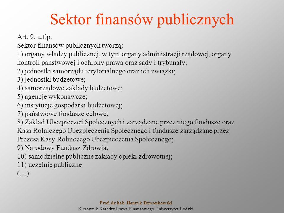 Sektor finansów publicznych Art. 9. u.f.p. Sektor finansów publicznych tworzą: 1) organy władzy publicznej, w tym organy administracji rządowej, organ