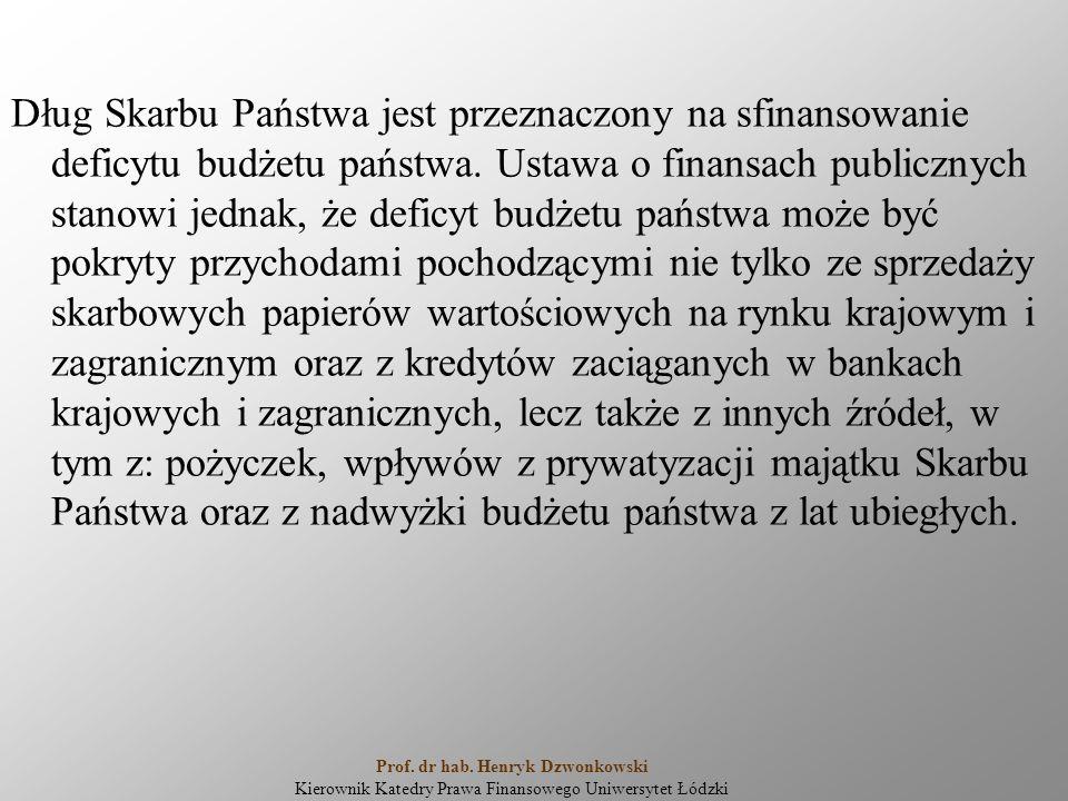 Dług Skarbu Państwa jest przeznaczony na sfinansowanie deficytu budżetu państwa. Ustawa o finansach publicznych stanowi jednak, że deficyt budżetu pań