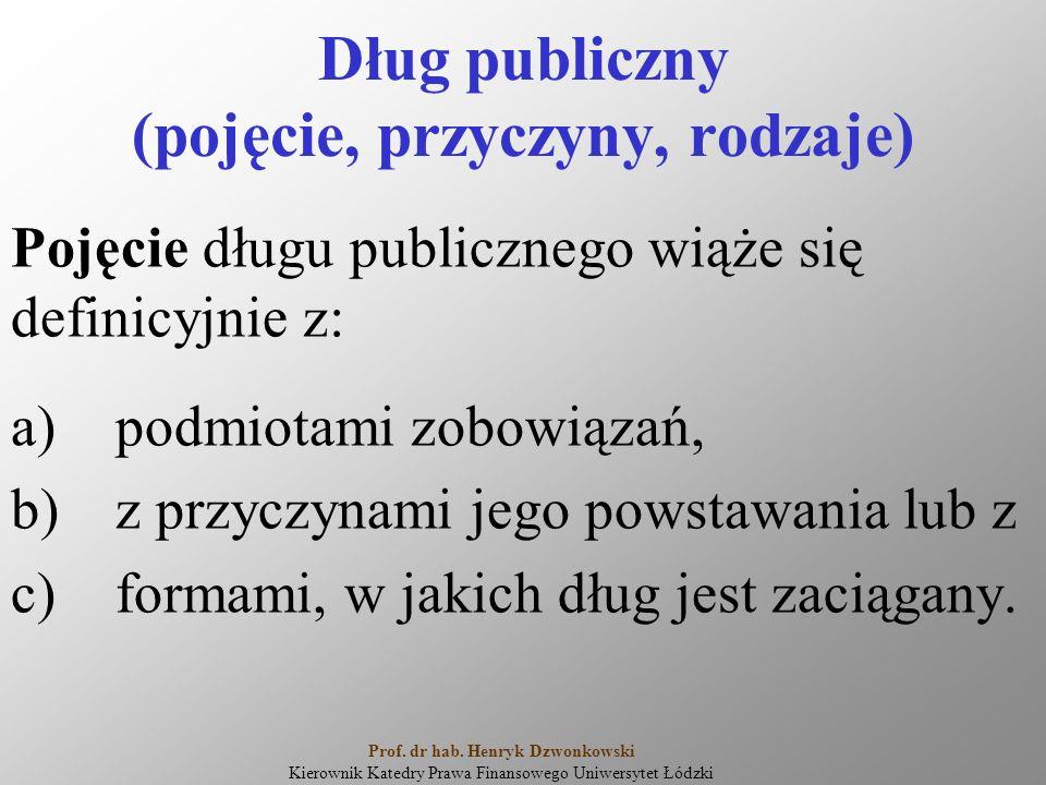 Dług publiczny (pojęcie, przyczyny, rodzaje) Pojęcie długu publicznego wiąże się definicyjnie z: a)podmiotami zobowiązań, b)z przyczynami jego powstawania lub z c)formami, w jakich dług jest zaciągany.