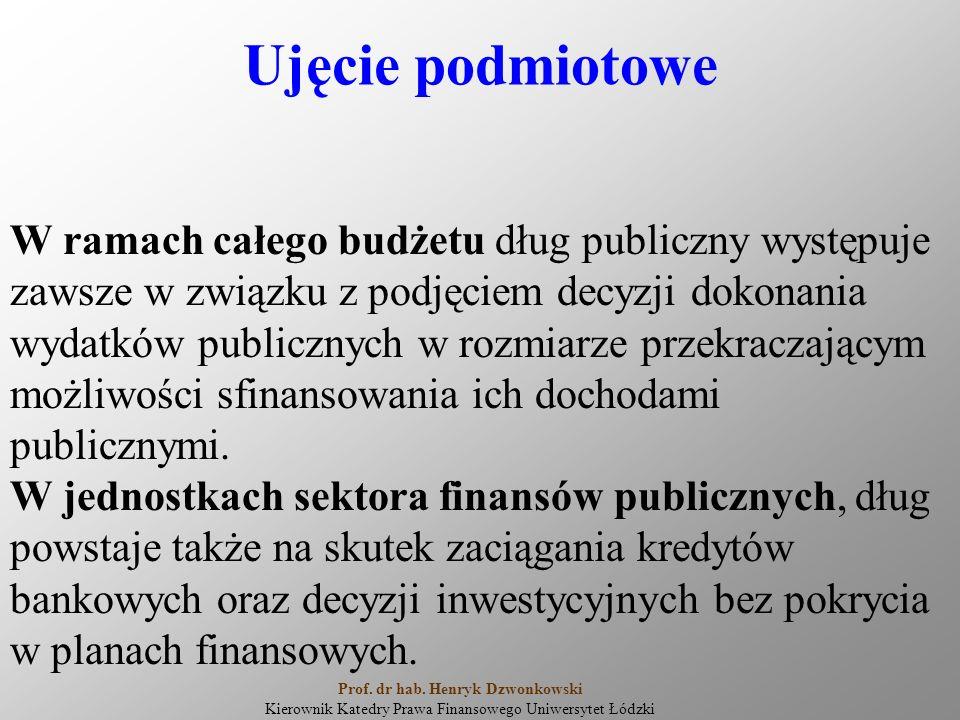 Ujęcie podmiotowe W ramach całego budżetu dług publiczny występuje zawsze w związku z podjęciem decyzji dokonania wydatków publicznych w rozmiarze przekraczającym możliwości sfinansowania ich dochodami publicznymi.
