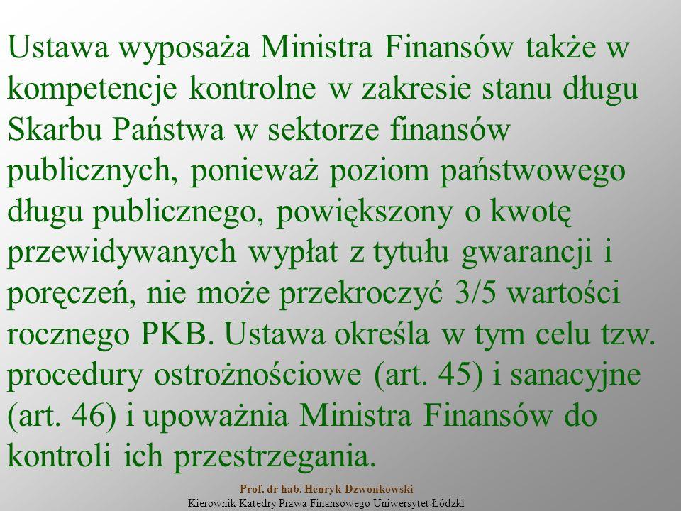 Ustawa wyposaża Ministra Finansów także w kompetencje kontrolne w zakresie stanu długu Skarbu Państwa w sektorze finansów publicznych, ponieważ poziom państwowego długu publicznego, powiększony o kwotę przewidywanych wypłat z tytułu gwarancji i poręczeń, nie może przekroczyć 3/5 wartości rocznego PKB.
