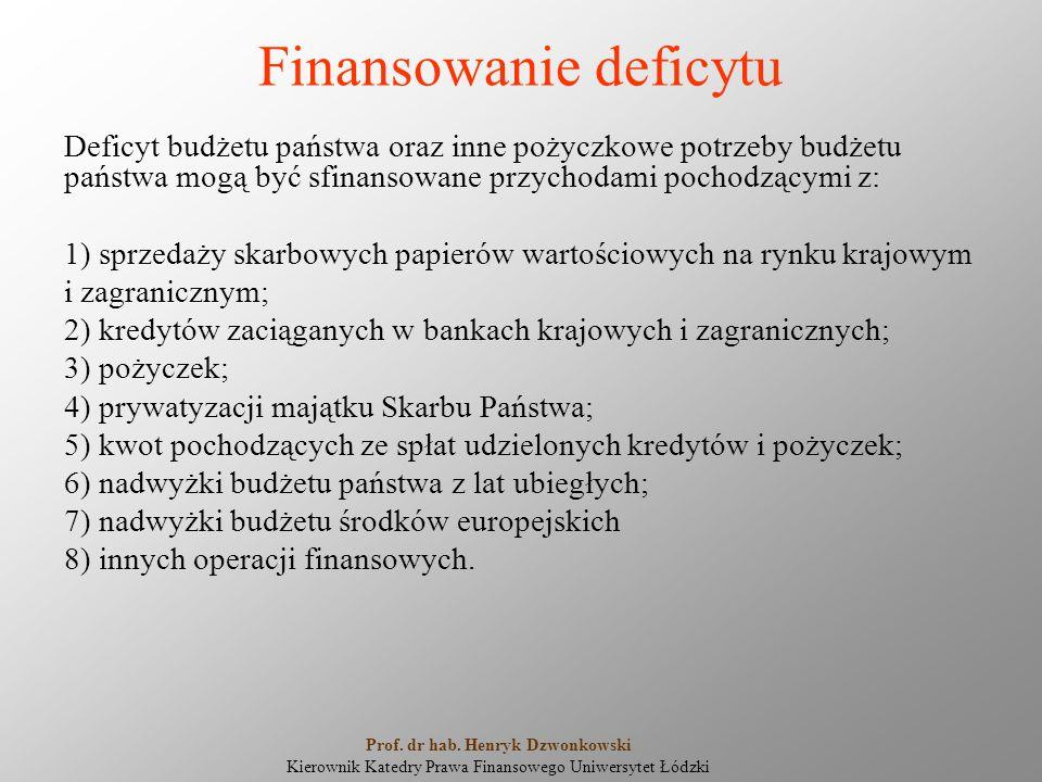Finansowanie deficytu Deficyt budżetu państwa oraz inne pożyczkowe potrzeby budżetu państwa mogą być sfinansowane przychodami pochodzącymi z: 1) sprzedaży skarbowych papierów wartościowych na rynku krajowym i zagranicznym; 2) kredytów zaciąganych w bankach krajowych i zagranicznych; 3) pożyczek; 4) prywatyzacji majątku Skarbu Państwa; 5) kwot pochodzących ze spłat udzielonych kredytów i pożyczek; 6) nadwyżki budżetu państwa z lat ubiegłych; 7) nadwyżki budżetu środków europejskich 8) innych operacji finansowych.