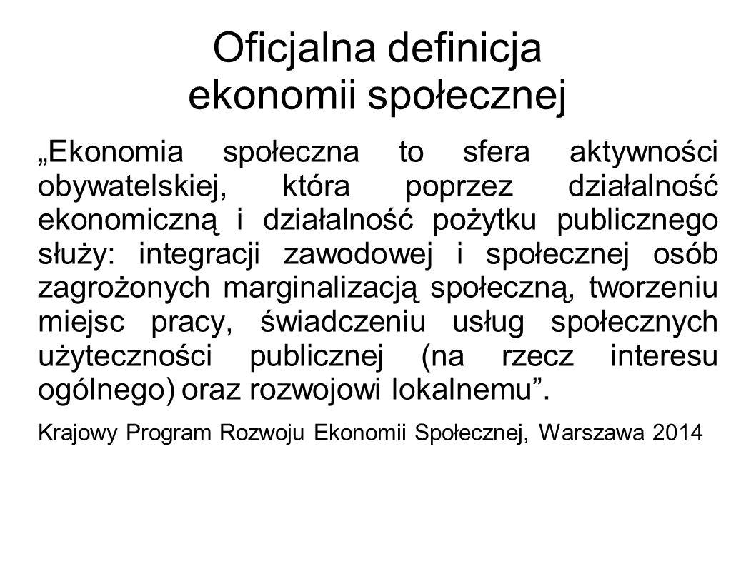 """Oficjalna definicja ekonomii społecznej """"Ekonomia społeczna to sfera aktywności obywatelskiej, która poprzez działalność ekonomiczną i działalność pożytku publicznego służy: integracji zawodowej i społecznej osób zagrożonych marginalizacją społeczną, tworzeniu miejsc pracy, świadczeniu usług społecznych użyteczności publicznej (na rzecz interesu ogólnego) oraz rozwojowi lokalnemu ."""