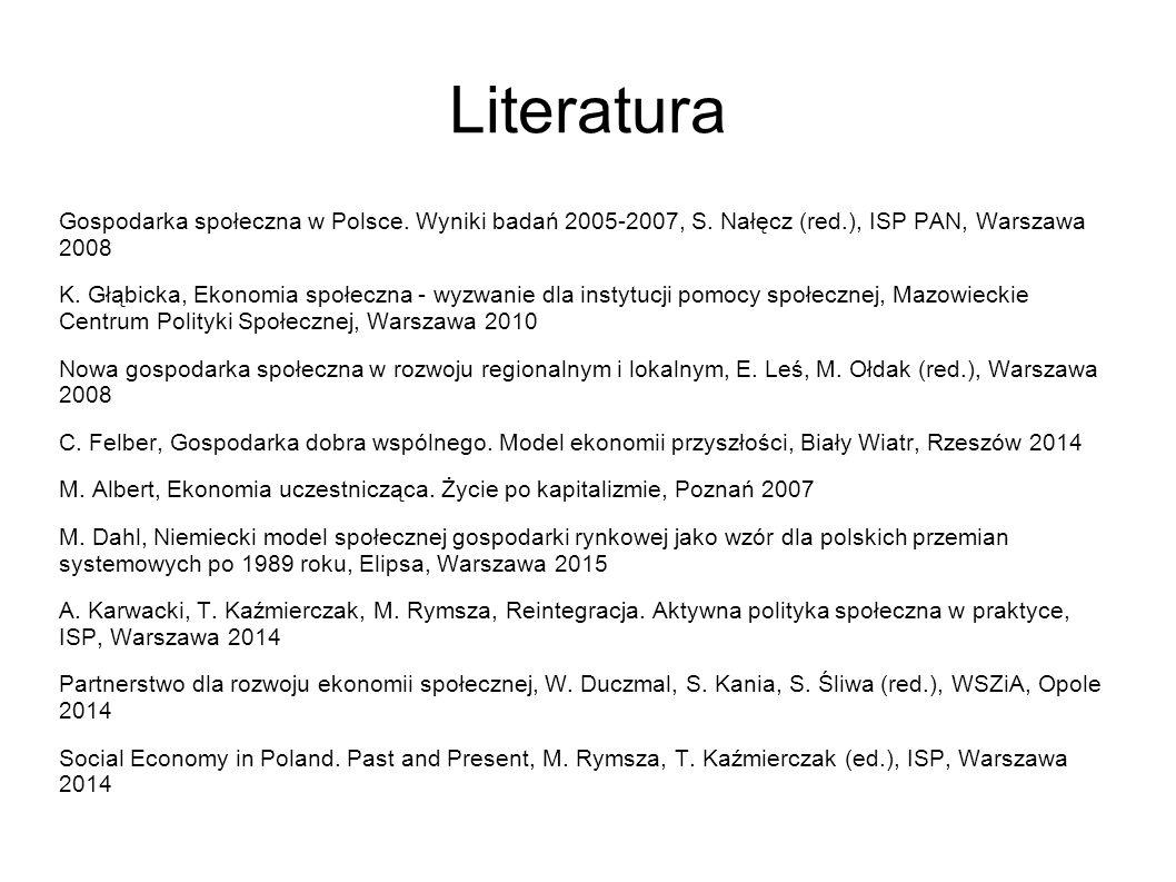 Literatura Gospodarka społeczna w Polsce. Wyniki badań 2005-2007, S.