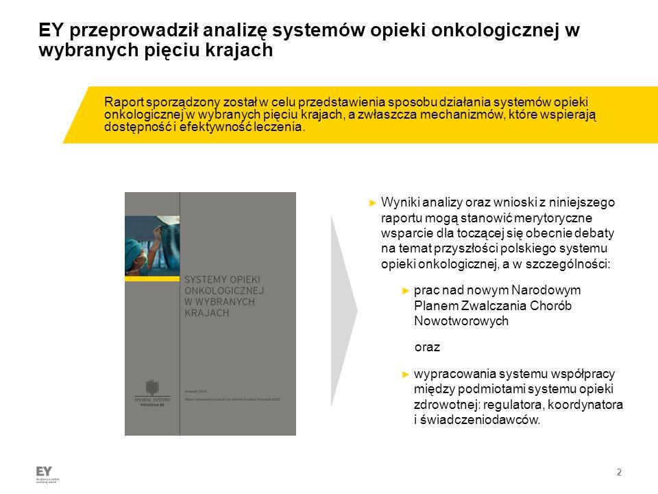 2 EY przeprowadził analizę systemów opieki onkologicznej w wybranych pięciu krajach ► Wyniki analizy oraz wnioski z niniejszego raportu mogą stanowić merytoryczne wsparcie dla toczącej się obecnie debaty na temat przyszłości polskiego systemu opieki onkologicznej, a w szczególności: ► prac nad nowym Narodowym Planem Zwalczania Chorób Nowotworowych oraz ► wypracowania systemu współpracy między podmiotami systemu opieki zdrowotnej: regulatora, koordynatora i świadczeniodawców.